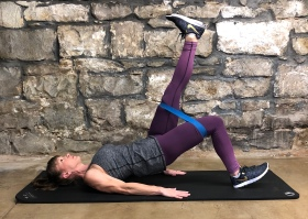 Band bridges/glute raises-one legged with modification