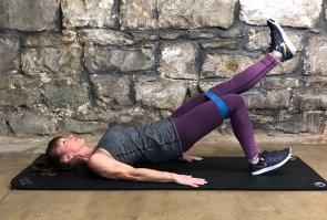 Band bridges/glute raises-one legged